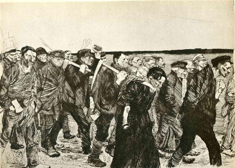 Käthe Kollwitz ,   March of the Weavers,  1897, etching, 21.59 x 29.53 cm (plate), via  wikicommons