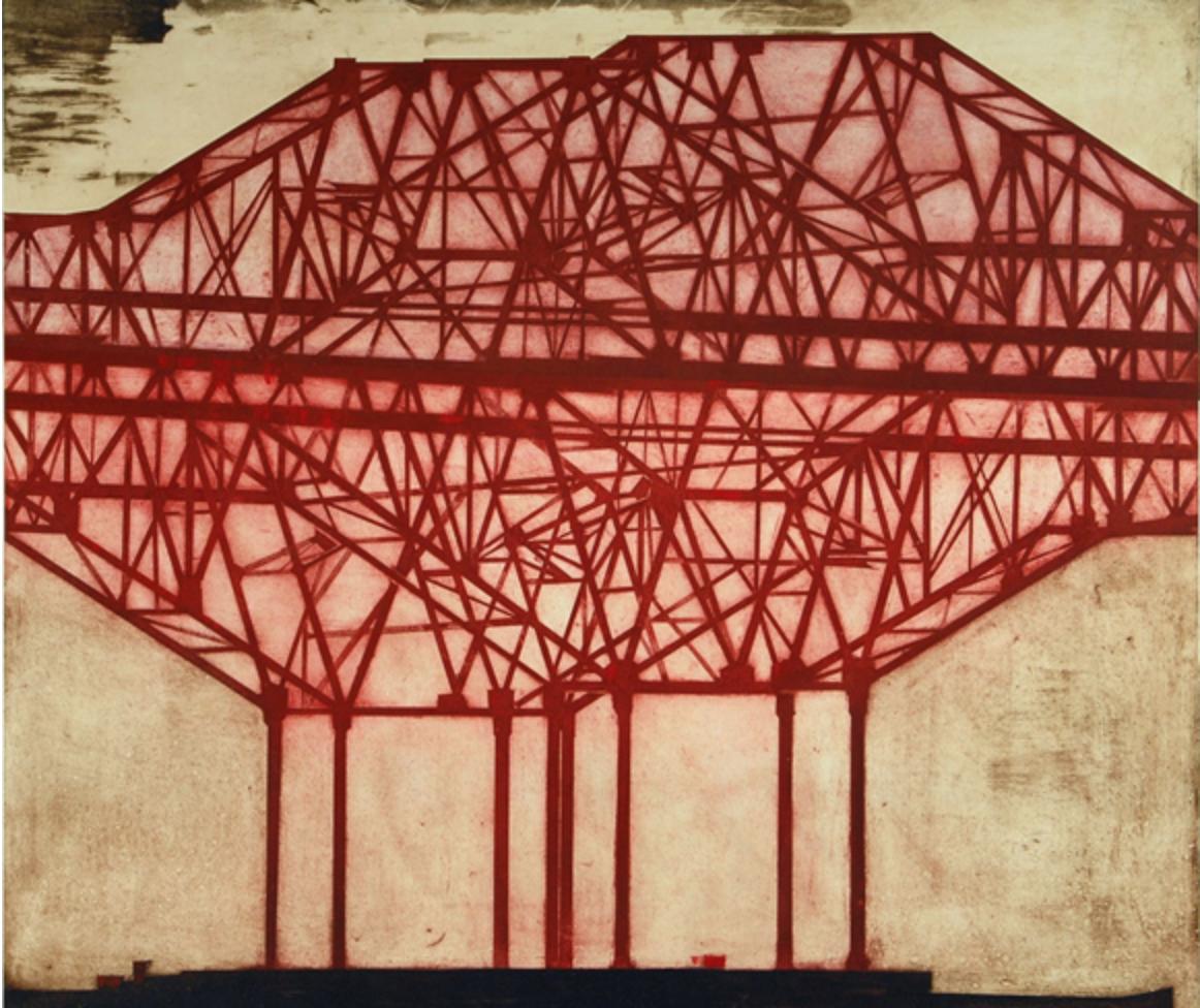 "Infrastructure #1,  Drypoint, collage, 52"" x 47"" (132 cm x 119 cm)"