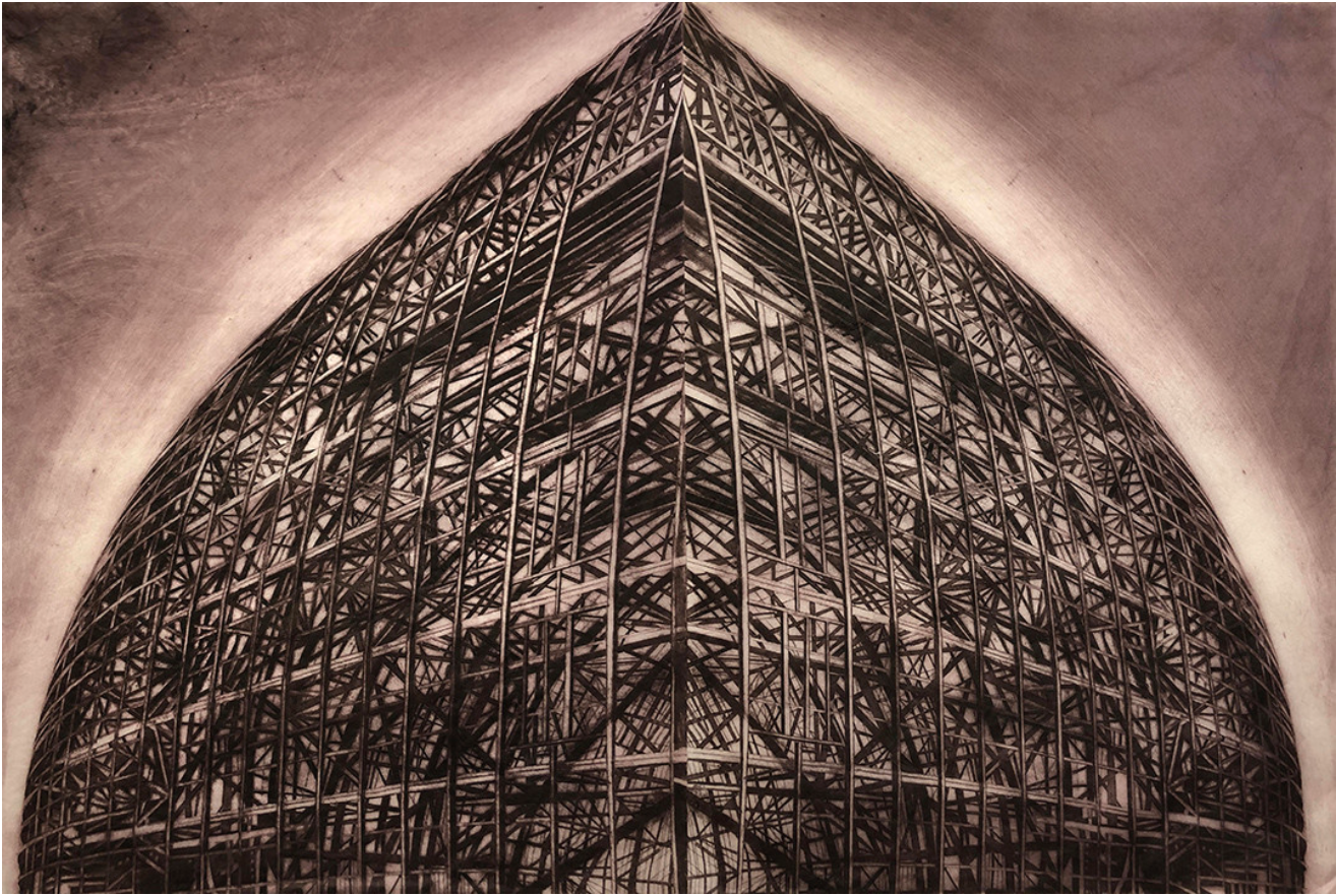 "Dome ,   Drypoint on Gampi, H40"" x W 60"" (102cm x 152cm)"