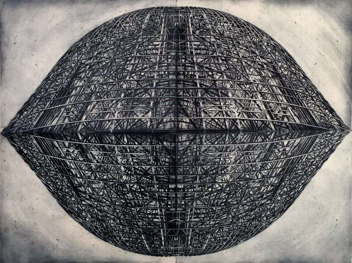 "Paradigm  ,  Drypoint on Gampi, backed wih Sekishu, W 80"" x H 60"" (152.5 cm x 203 cm)"