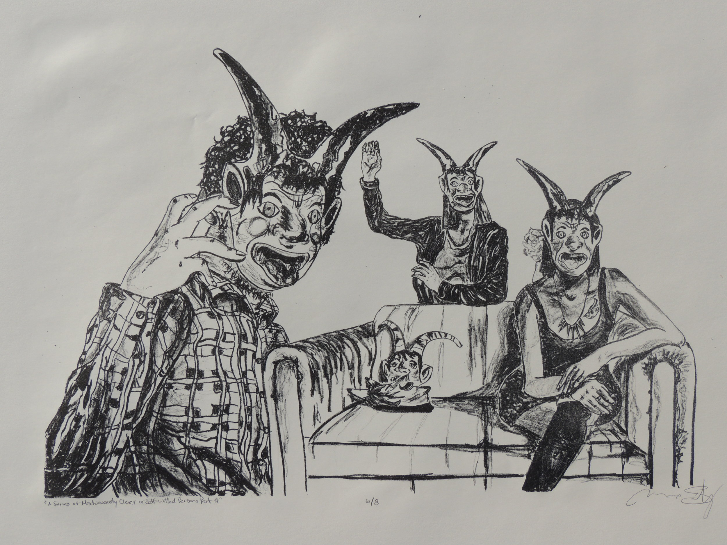 From the  Series of Mischevious and Self-Willed Persons,  lithograph, 22 x 30 inches