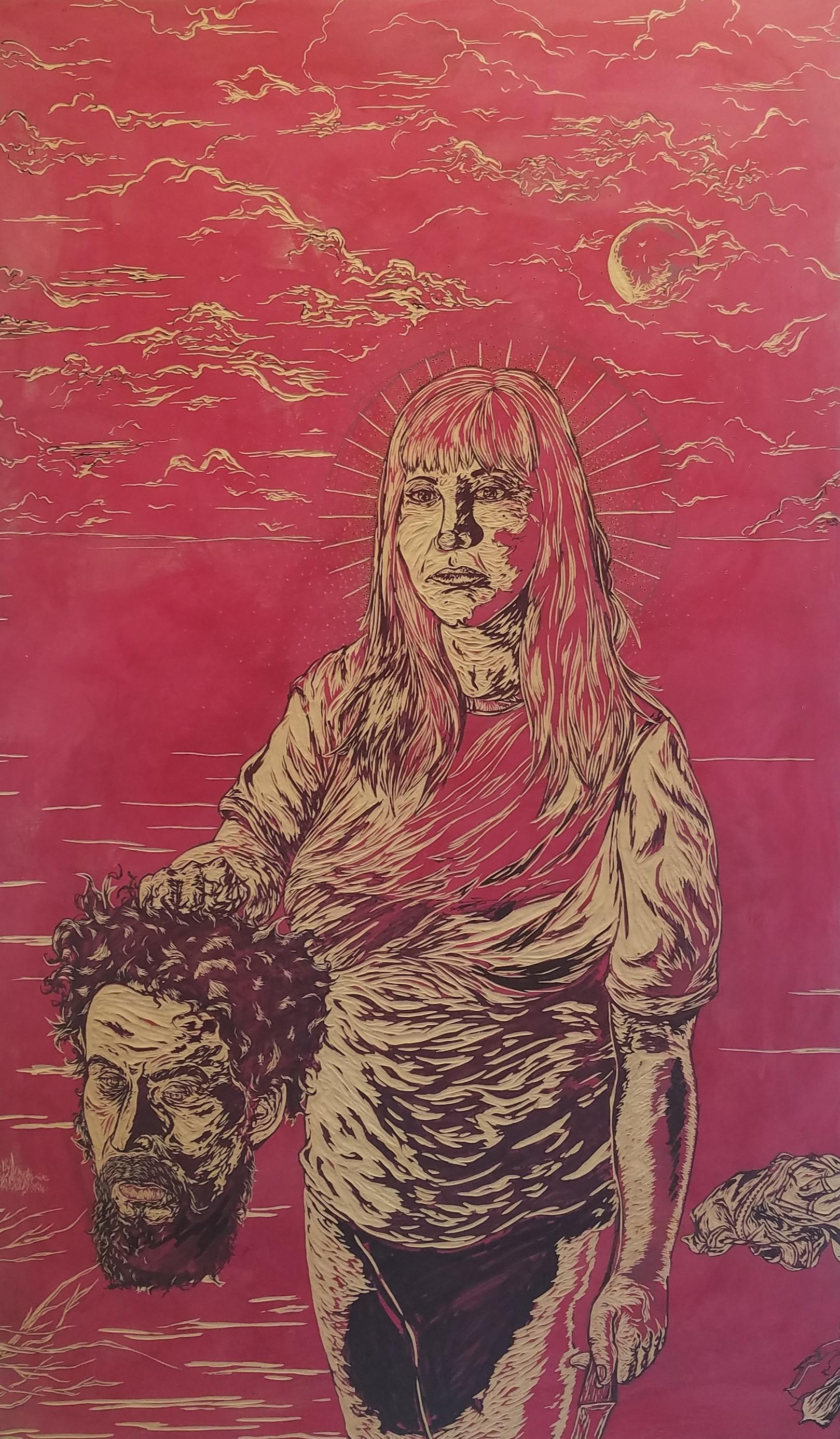 Santa Natalie, Hija de su Sadre y un Pobre Cabron,  woodcut, 40 x 24 inches