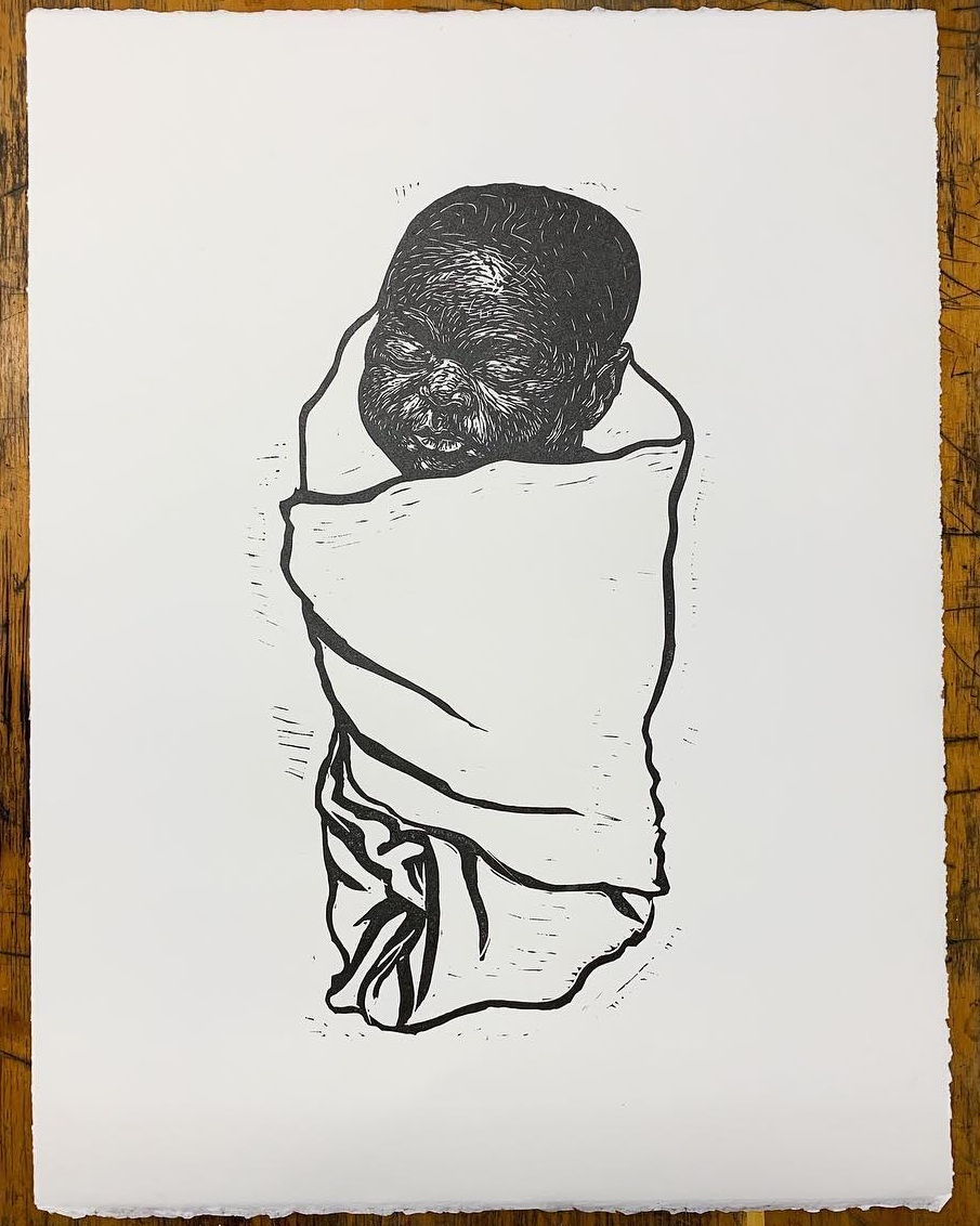 Linocut from  The Black Baby Project