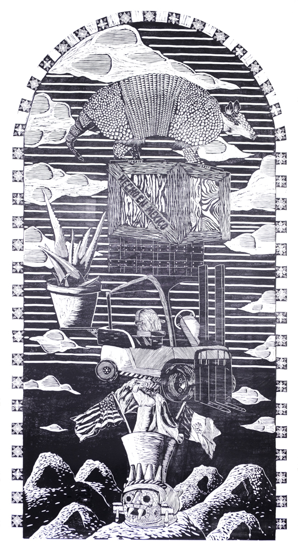 Illegal Human,  woodcut, 8 x 4 ft, 2019