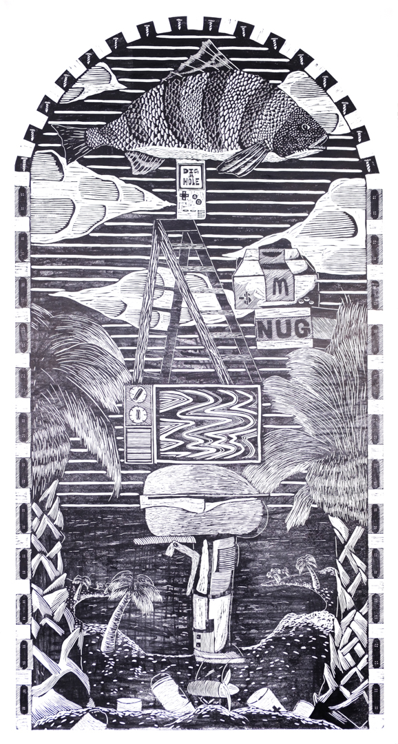 Labor,  woodcut, 8 x 4 ft, 2019