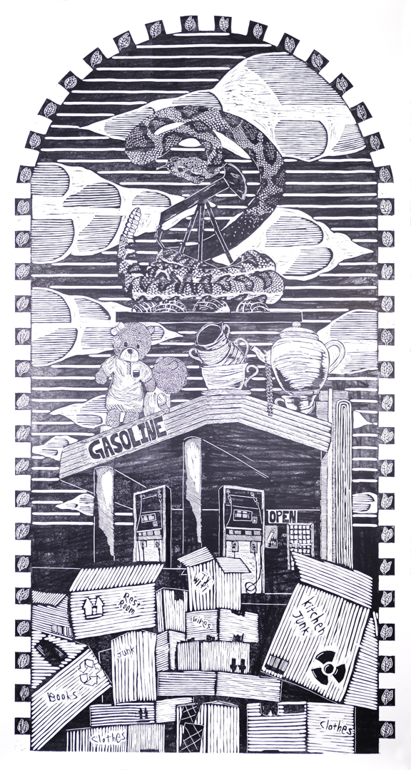 The Attic,  woodcut, 8 x 4 ft, 2019