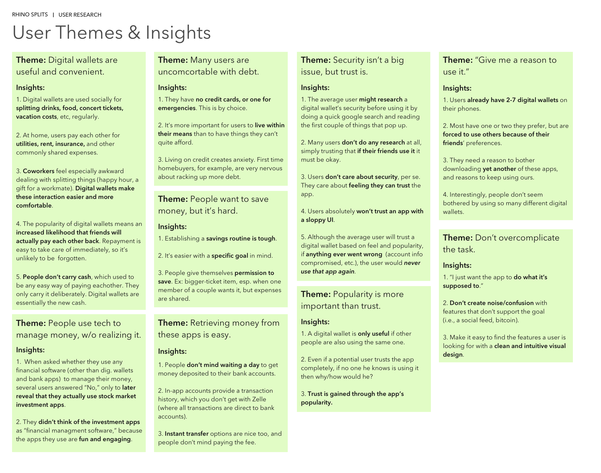 Above: Results of analyzing user research findings, distilled into key themes and insights