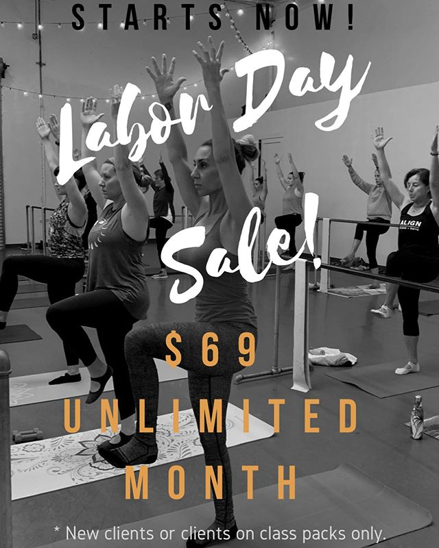SALE ••• Take advantage of our Labor Day Sale all weekend long. $69 for a month of unlimited classes! Valid for new clients or clients on class packs only. DM us if you have questions.