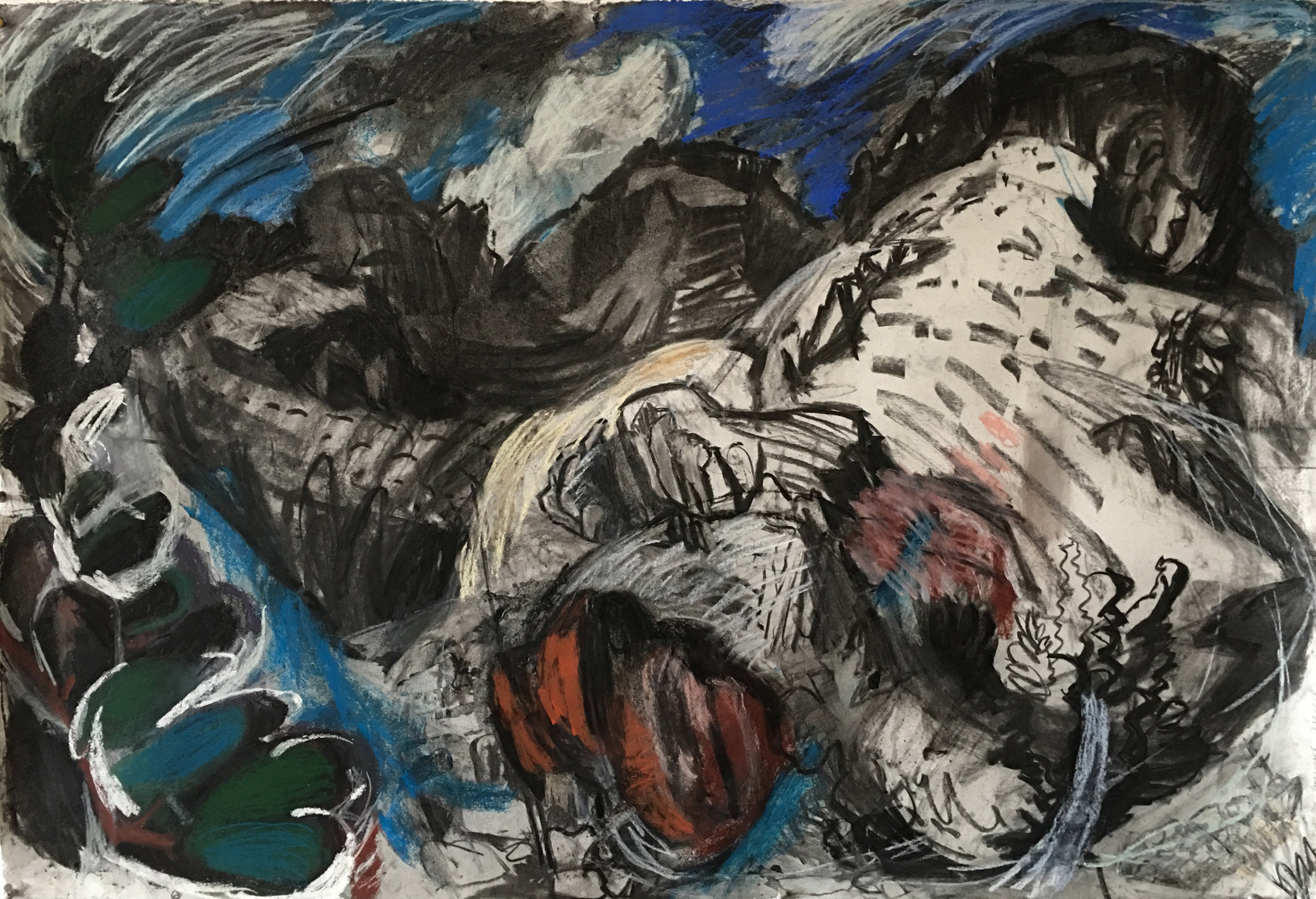 "Morning Mountains, Cabrera 34"" x 42"", charcoal and chalk pastel on paper"