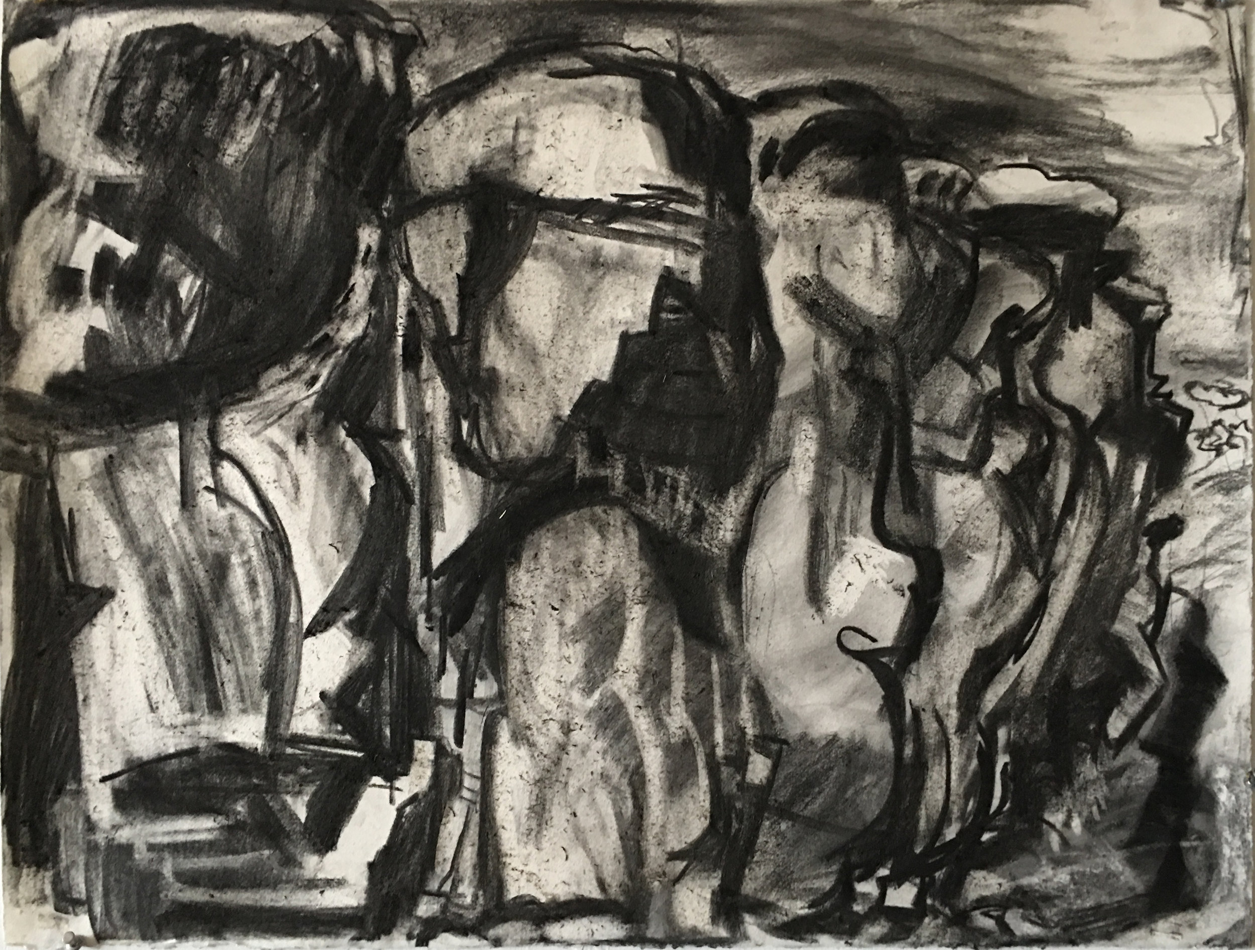 "Chaco Canyon, 22"" x 30"", charcoal on paper"