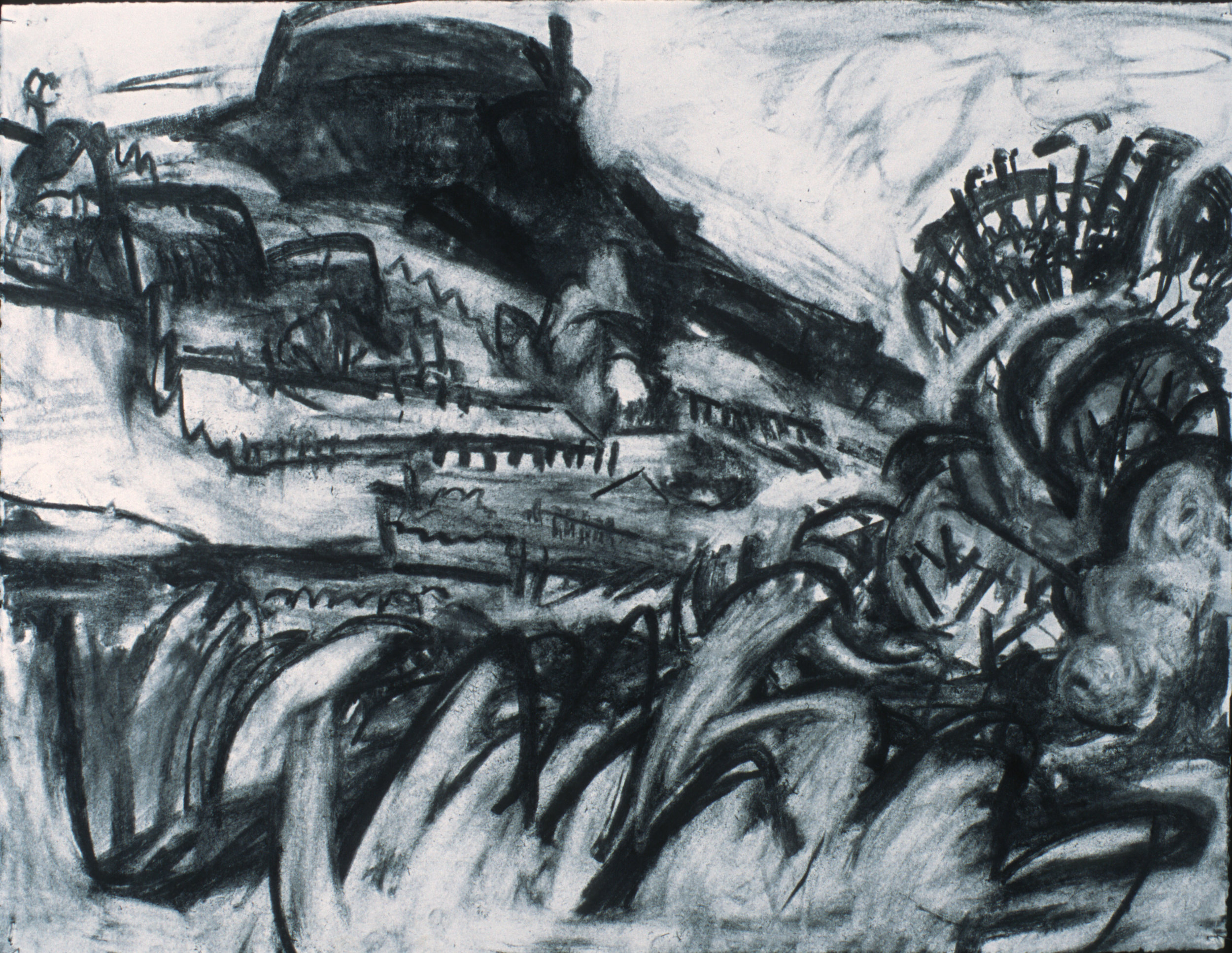 "Cerro Judio Summer, 22"" x30"", charcoal on paper"