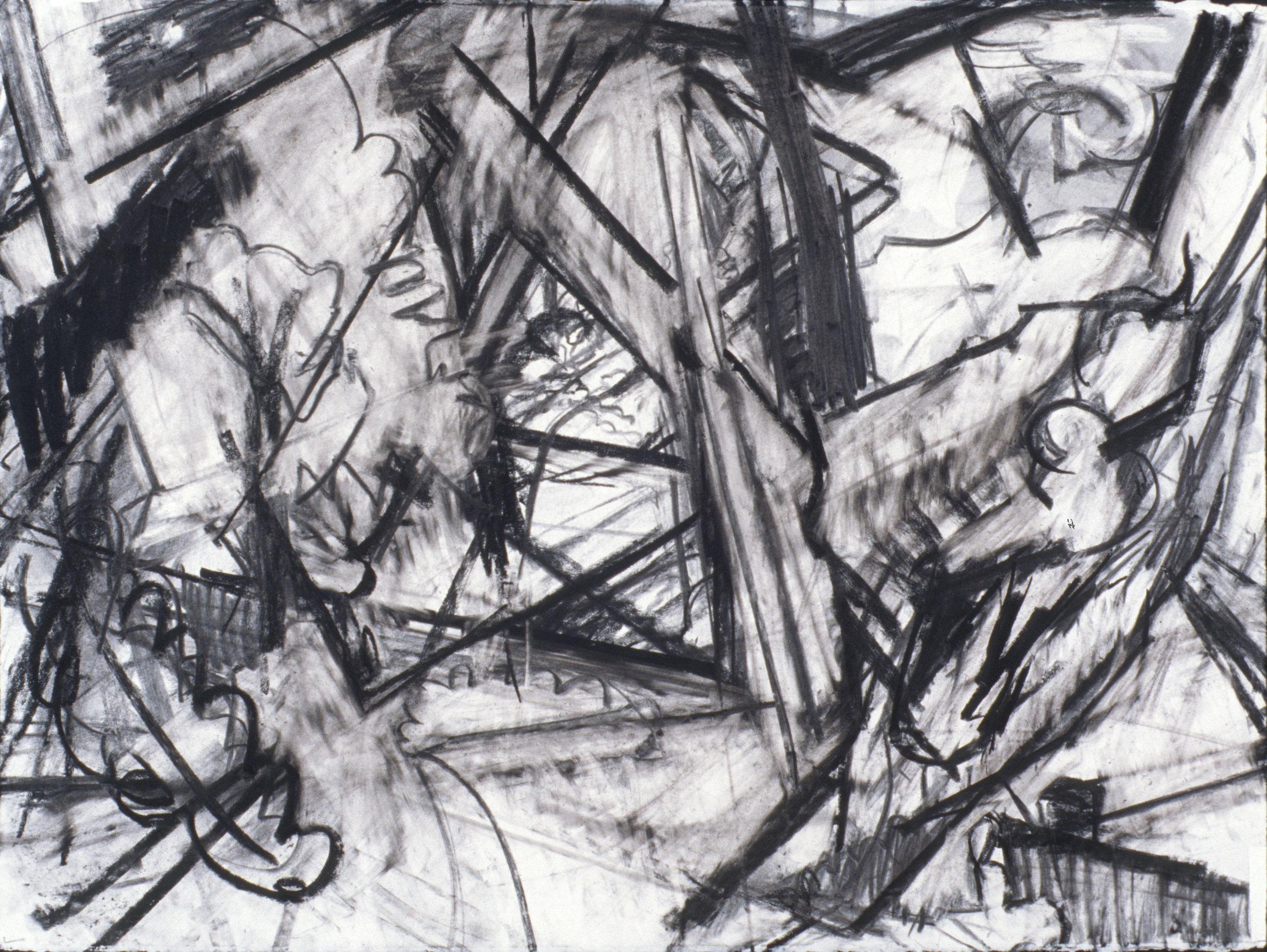 "Wataga Woodland, 22"" x 30"", charcoal on paper"