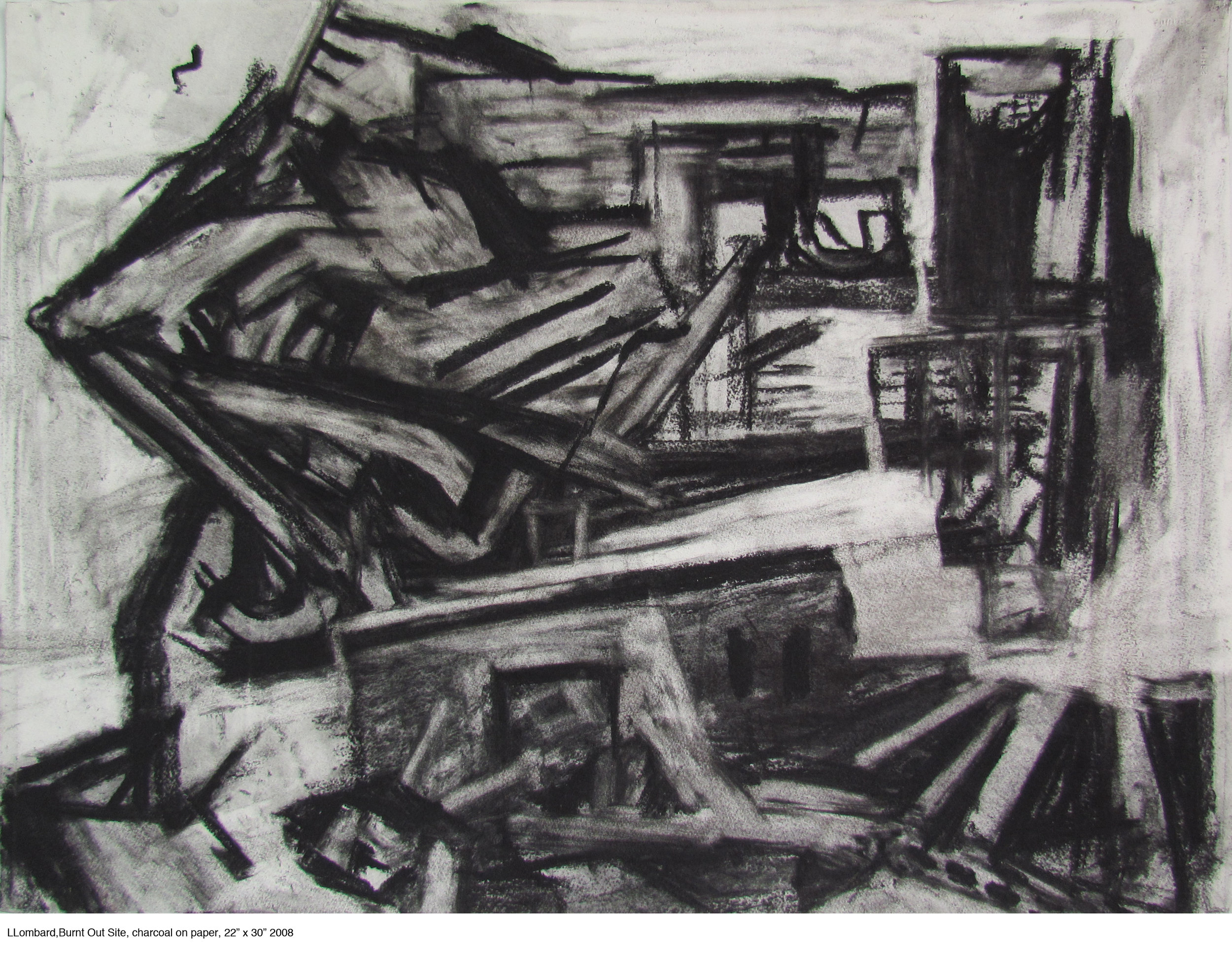 "Burnt Out Site, 22"" x 30"", charcoal on paper"