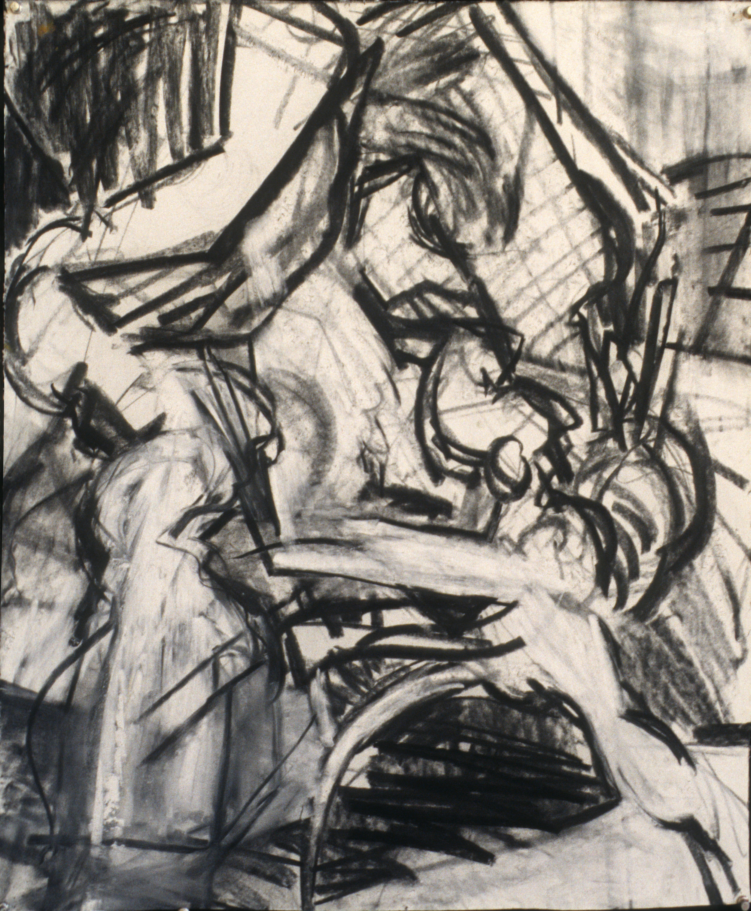 "Wrestling Still Life, 24"" x 19"", charcoal on paper"