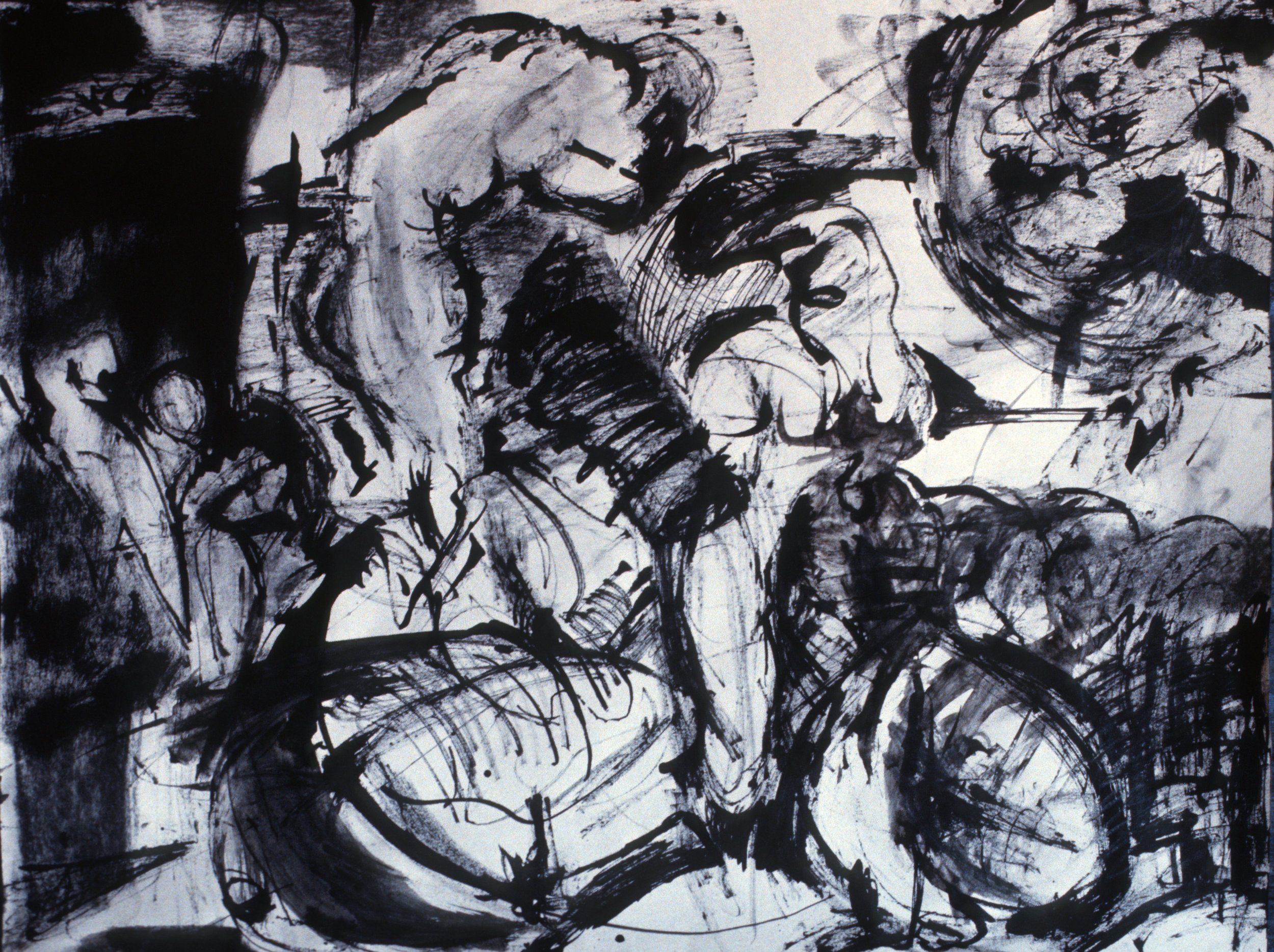 "Finding Figures, 19"" x 24"", charcoal and ink on paper"