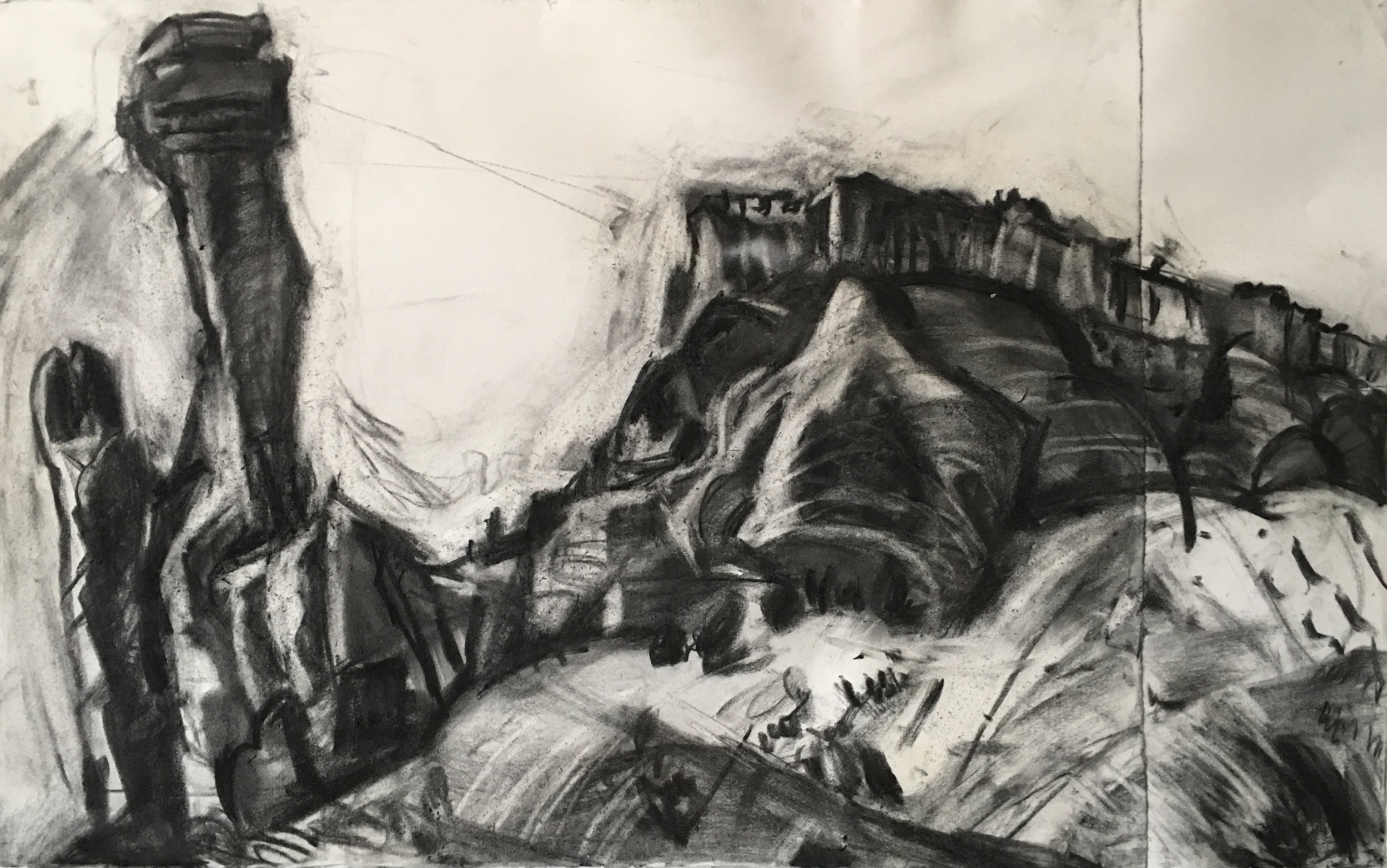 "Ghost Ranch, charcoal on paper, 22"" x 36"""