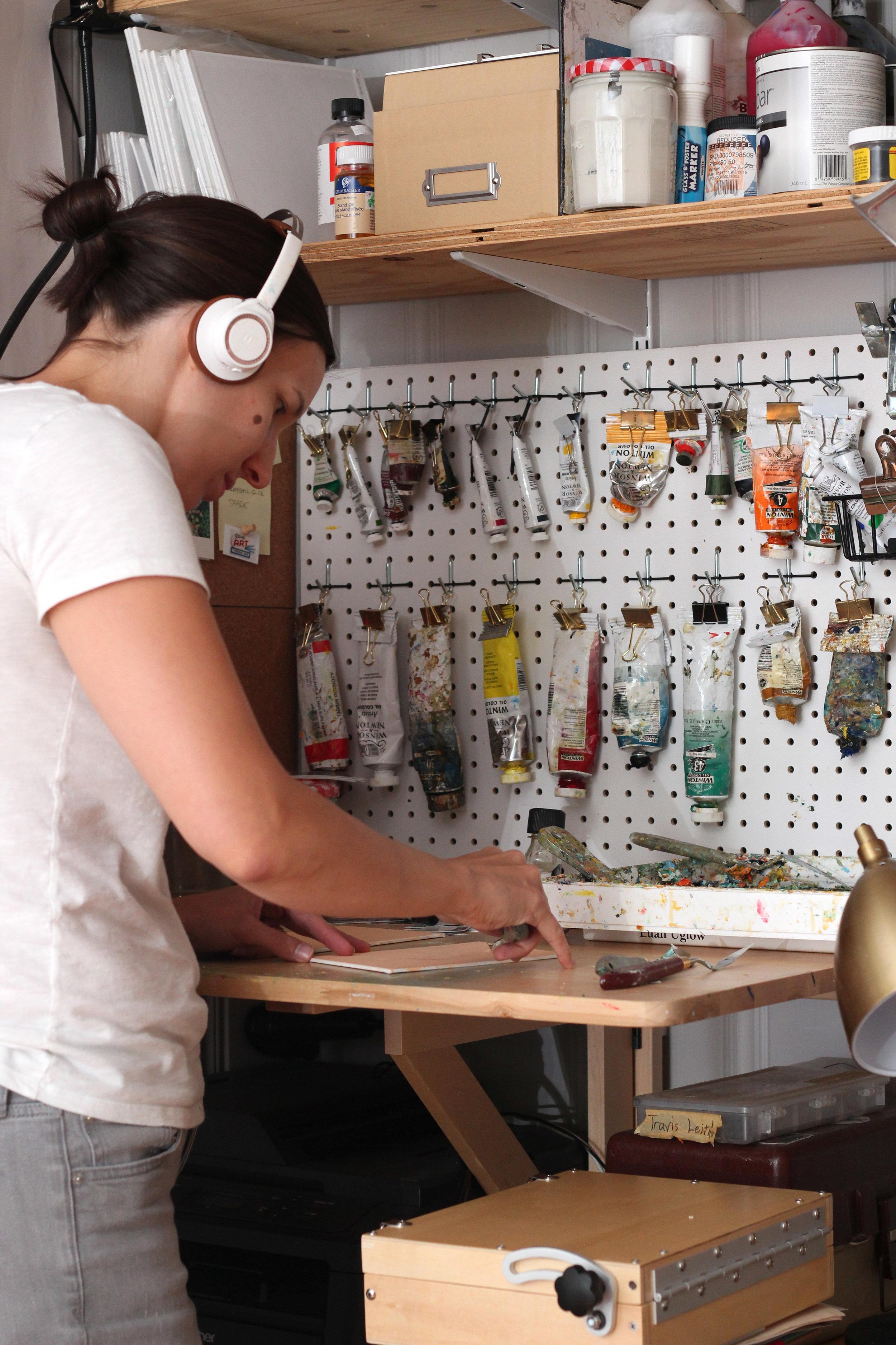 Fields working in her studio