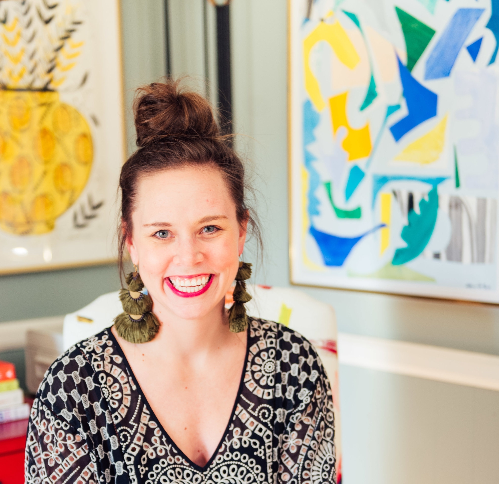 Amanda Louise Interiors - Amanda Louise has been an Art & Light artist cheerleader for years and is the queen of gallery walls and mixing pattern and color. Click the image to see a few images from some of her projects featuring Art & Light Gallery Artists.