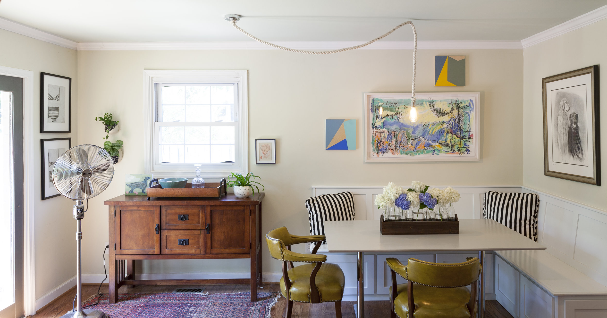 This kitchen table installation features the work of  Kiah Bellows ,  Jeffrey Leder ,  Annie Koelle  and  Dorothy Shain .