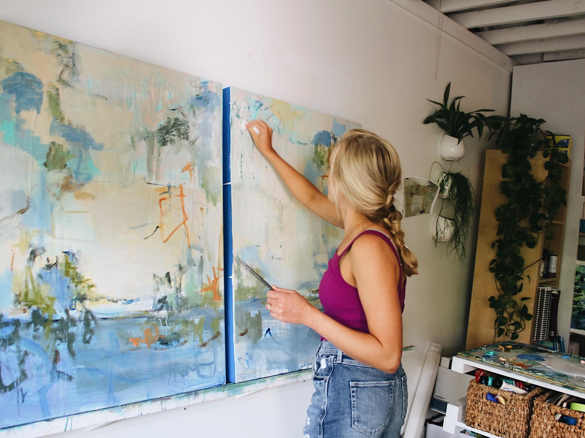Kiah Bellows working in her cottage studio at Art & Light