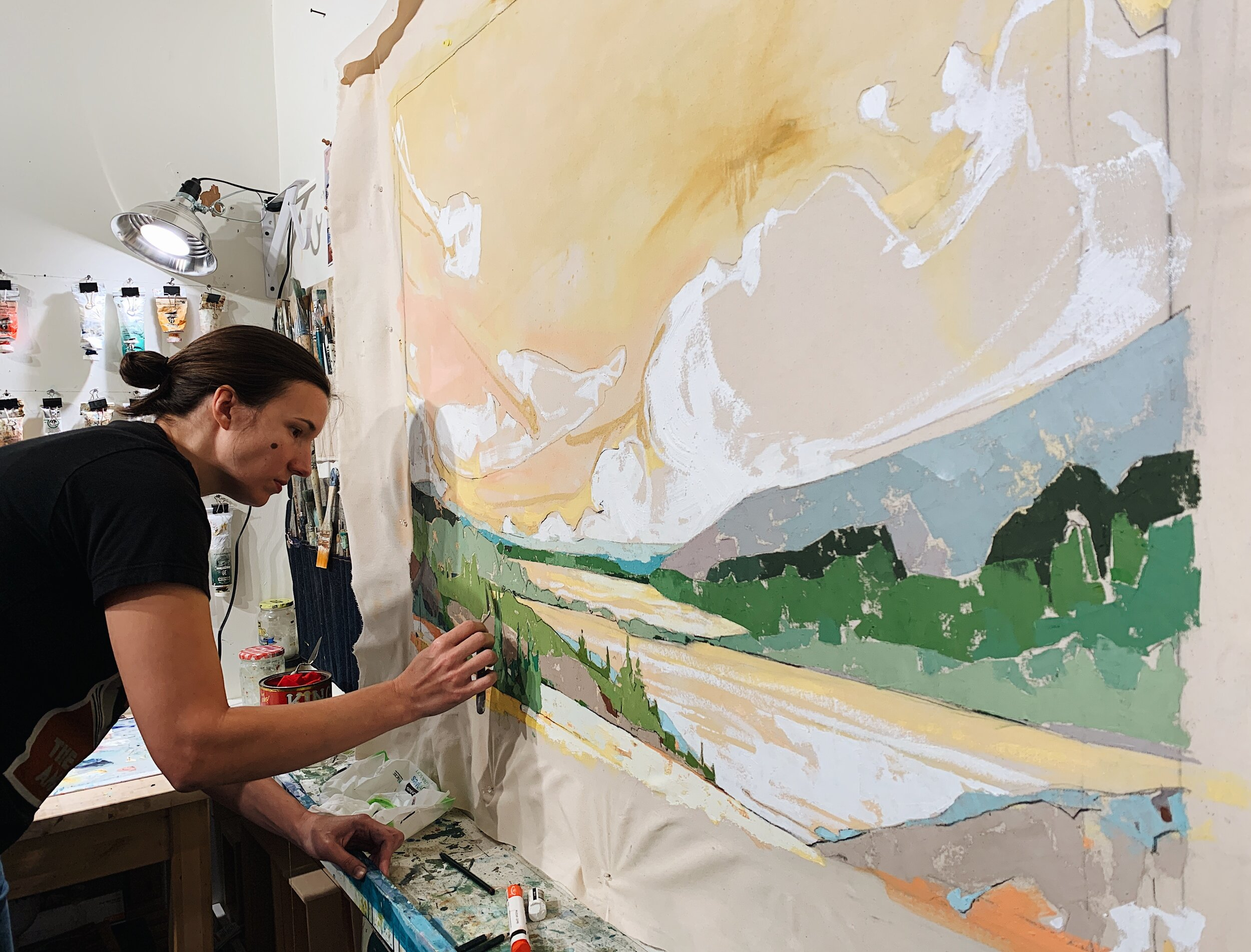 Jessica Fields working in her studio