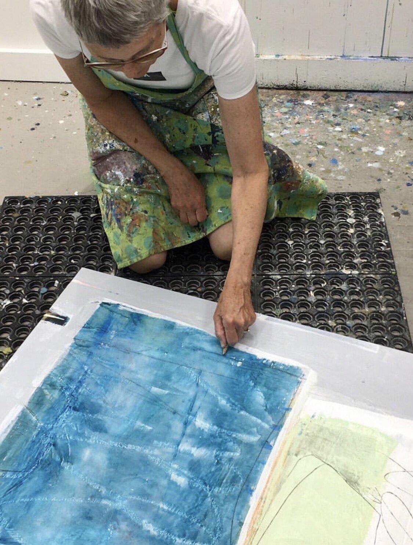 Ellen Rolli working in her studio