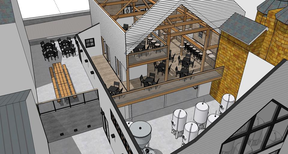 Austin Design's rendering of the planned renovation/additions at Oakholm Brewing Co. in Brookfield, MA.