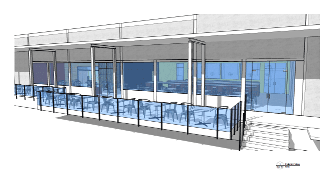 A rendering of Loophole Brewing's outdoor patio, by Austin Design.