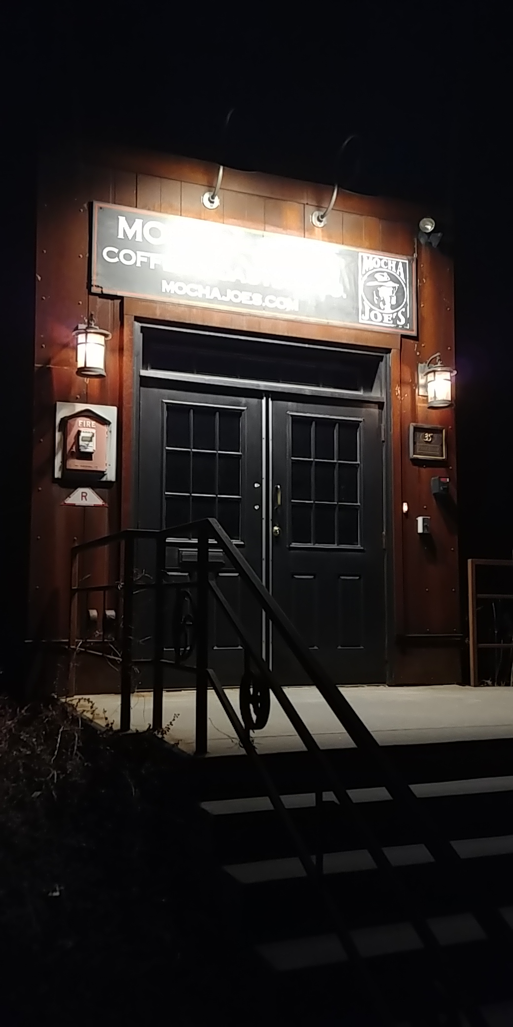 The entrance to our client Mocha Joe's Roasting Company at 35 Frost Street in Brattleboro, VT. Photo by our staff member and night walker Patrick Kitzmiller.