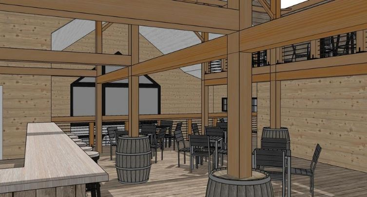 Austin Design's rendering of the barn's soon-to-be busy tasting room interior at  Oakholm Brewery .