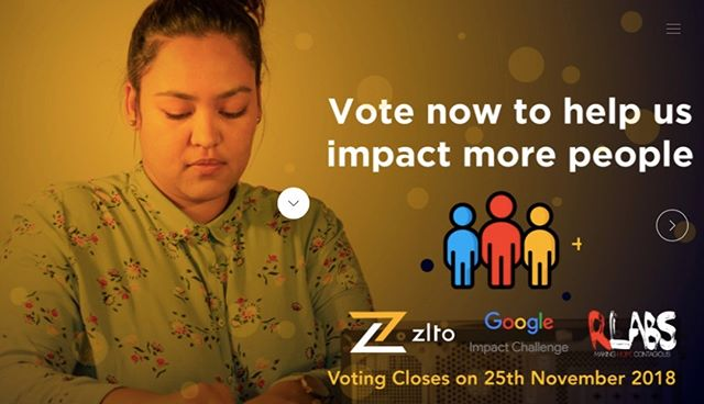 RLabs Zlto shortlisted for Google Impact Challenge - vote now! https://bit.ly/2PD7pbl