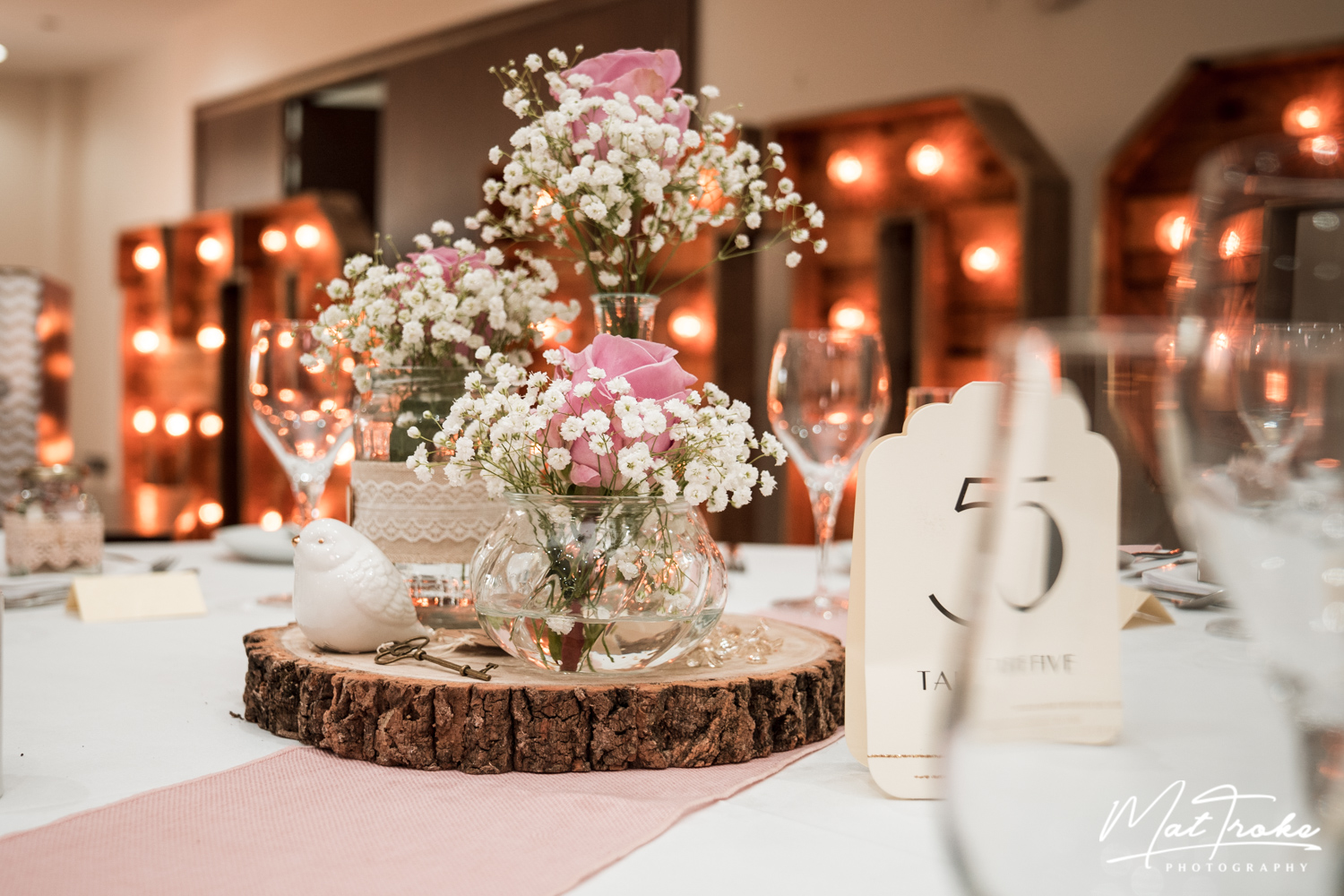 table-set-flowerd-light-up-letters-white-heart-inn-moorwood-alfreton-wedding-photographer-photography-sunset-venue