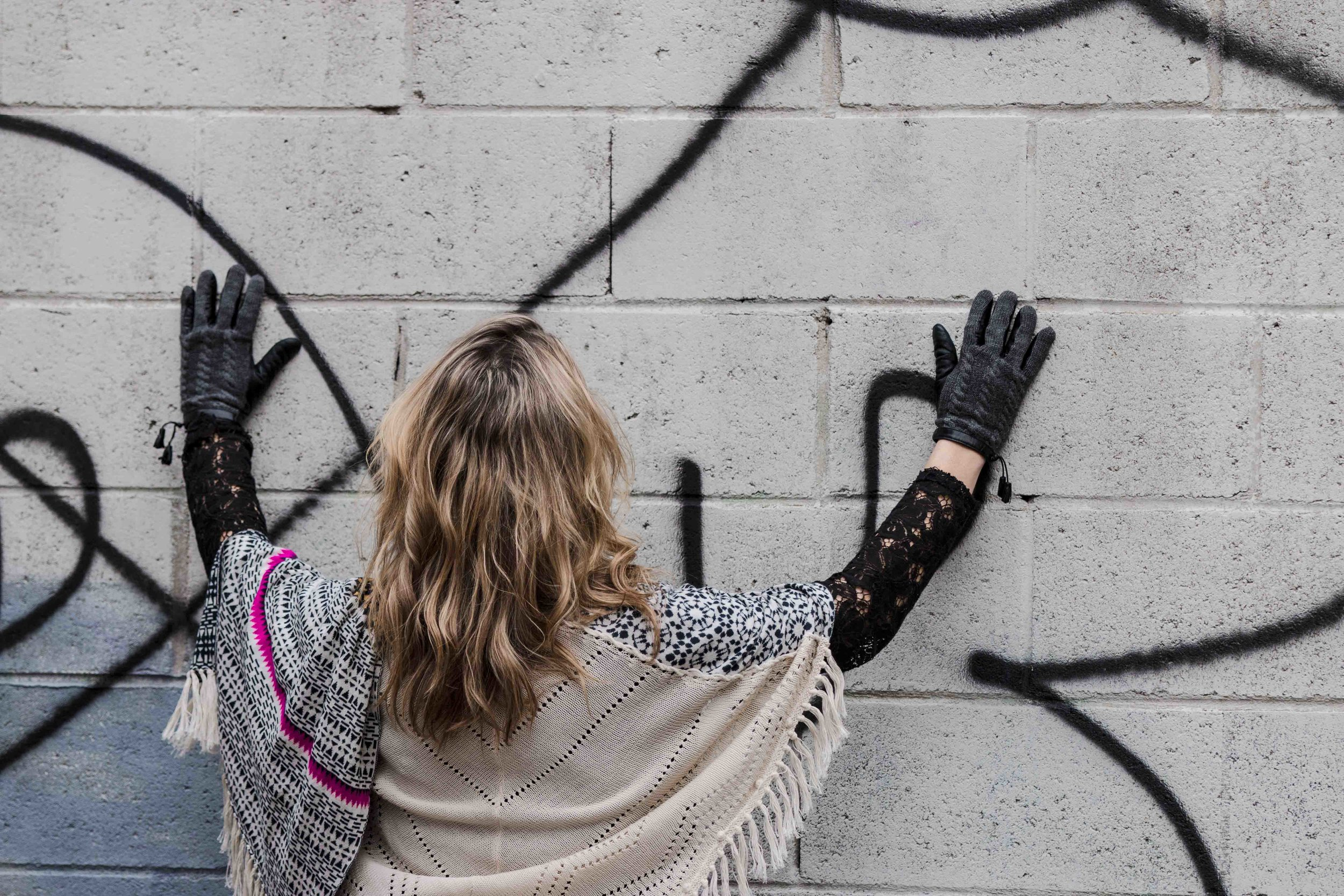 graffiti and gloves