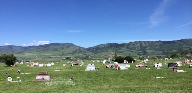 Tiny cemetery in Cleveland, Idaho, where many of my ancestors were buried.