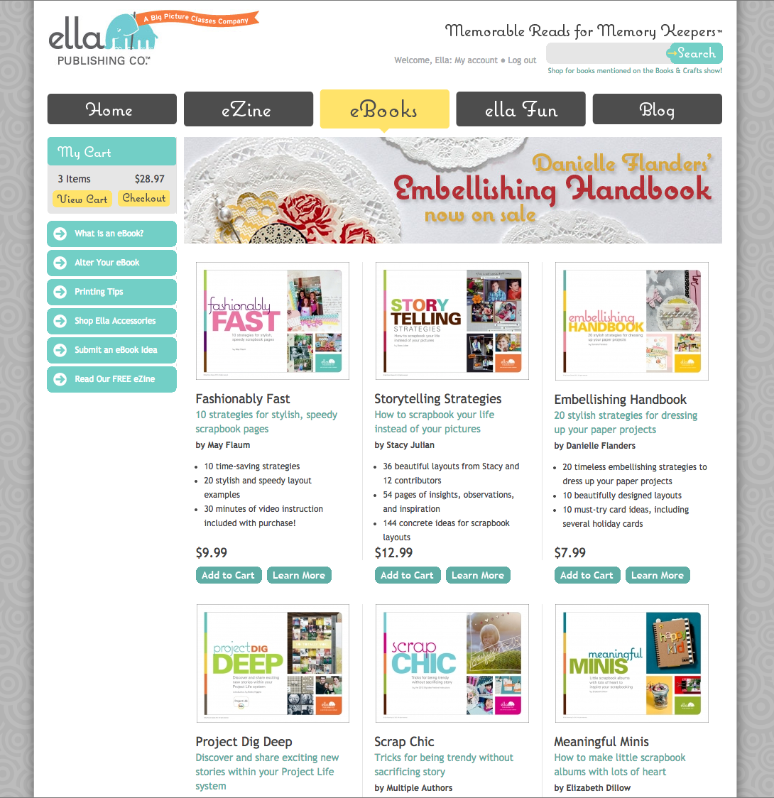A little peek at the bygone Ella Publishing Co. website that dominated 3 years of my life...