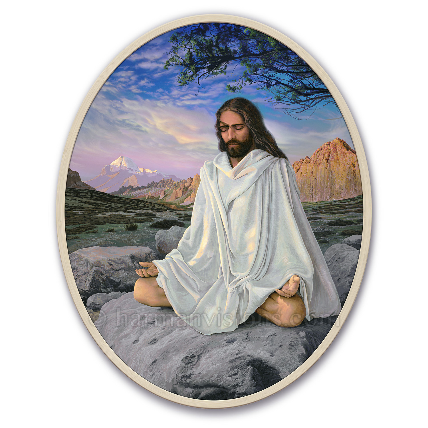 JESUS MEDITATING oval