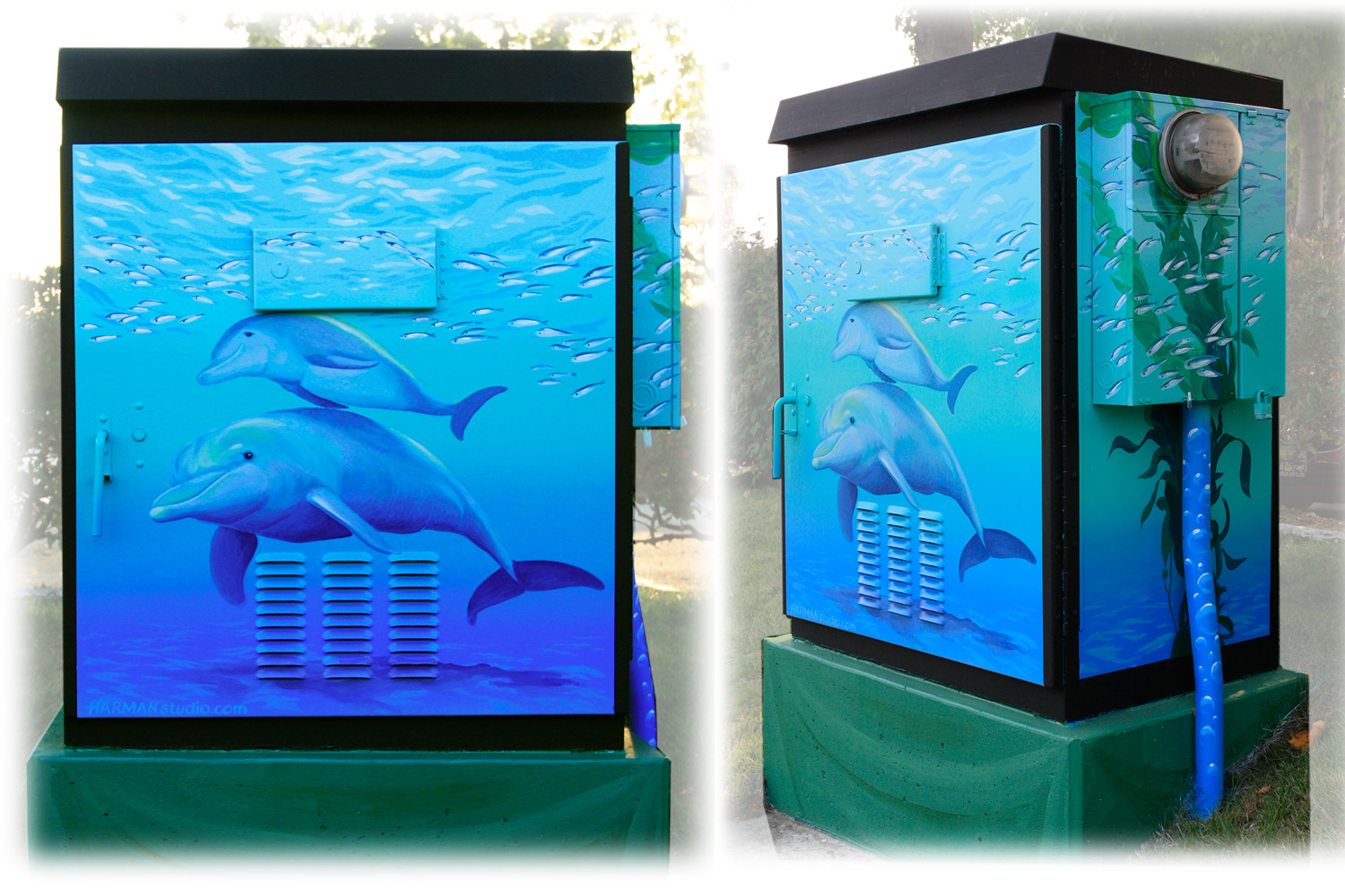 Dolphins are one of my very favorite subjects to paint. At 41st Ave & Capitola Mall entrance.