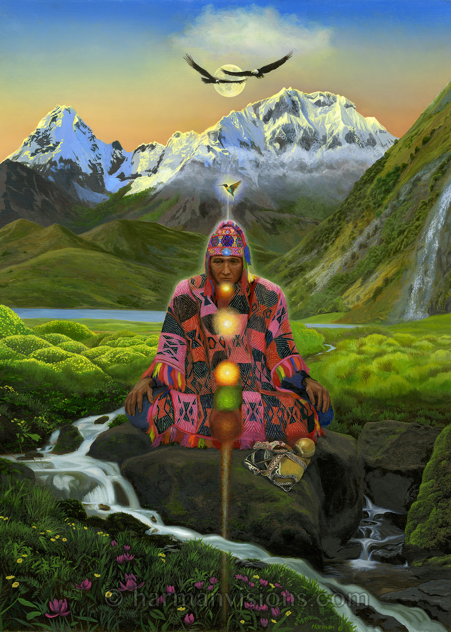 - Inca Prophecy is a commissioned oil painting. Jack is a deeply spiritual man with a soul-inspired mission to share the insights derived from his Peruvian shaman-led experiences. His meditation practice is based on the chakras but blended with Inca wisdom teachings. He got in touch with me after seeing some of my art on display, but was wary because of a previous experience commissioning art from a painter. Once we got together, conversation flowed and we found a simple but profound common ground. The final result came about after several revisions, and he was very happy.