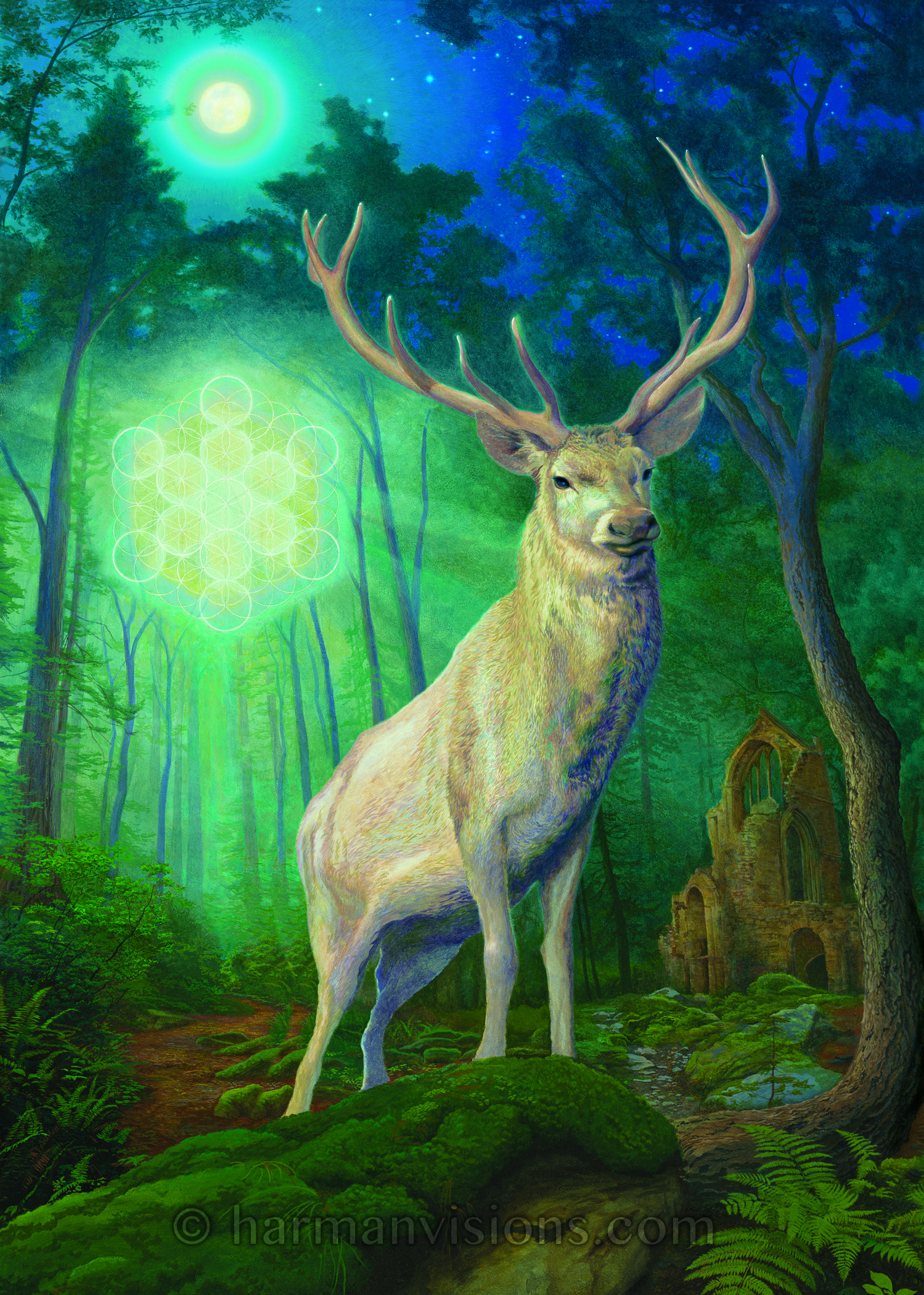 - White Stag is a commission from a client I never met in person. He lives in Mexico and has a wonderful sound healing retreat center near Mexico City. He emailed me and we spoke on the phone about his vision. Deeply significant to him, he spoke of the stag as representing the return of the Christ spirit in the hearts of all people. He specifically did not want any Church symbolism, so we chose the Flower of Life to be the glowing vision in the distance. The ruins symbolize the passing of the old ways, in the midst of nature's gifts.
