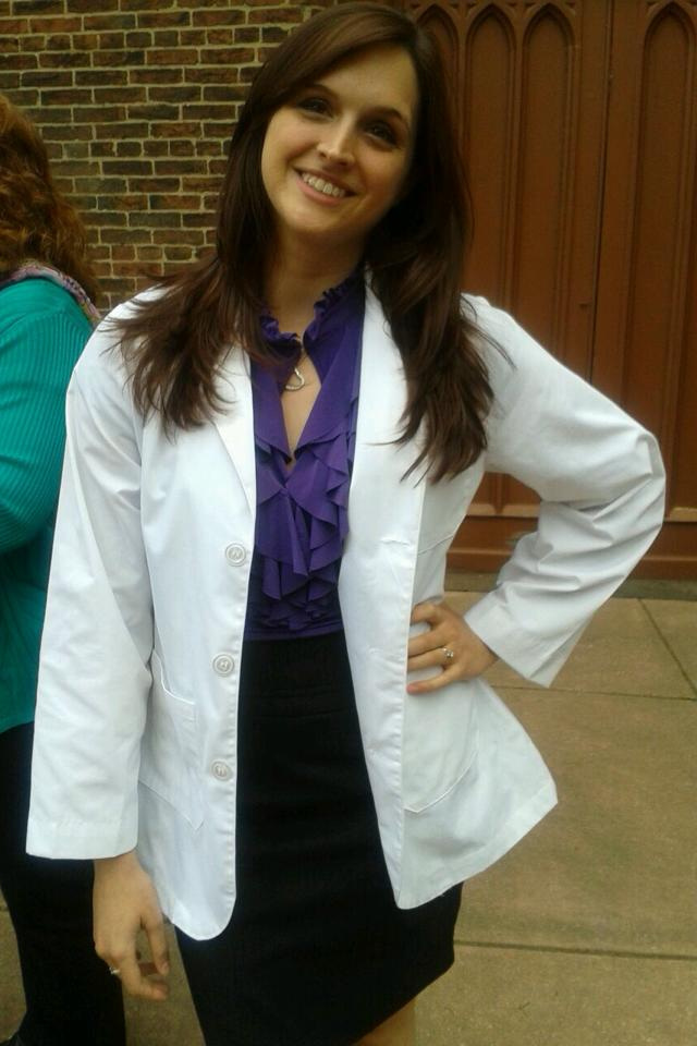 Christa after her White Coat Ceremony for her physical therapy program at the University of Maryland Baltimore in May 2014.