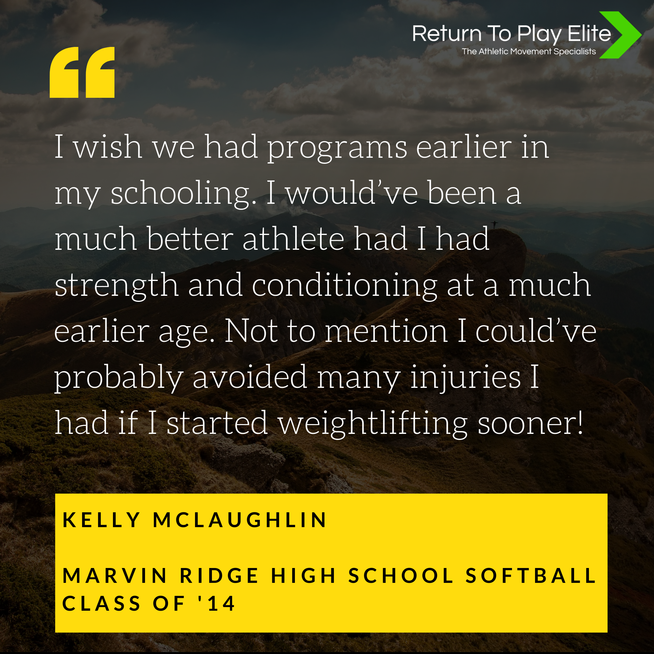 I wish we had programs earlier in my schooling. I would've been a much better athlete had I had strength and conditioning at a much earlier age. Not to mention I could've probably avoided many injuries I had if I sta.png
