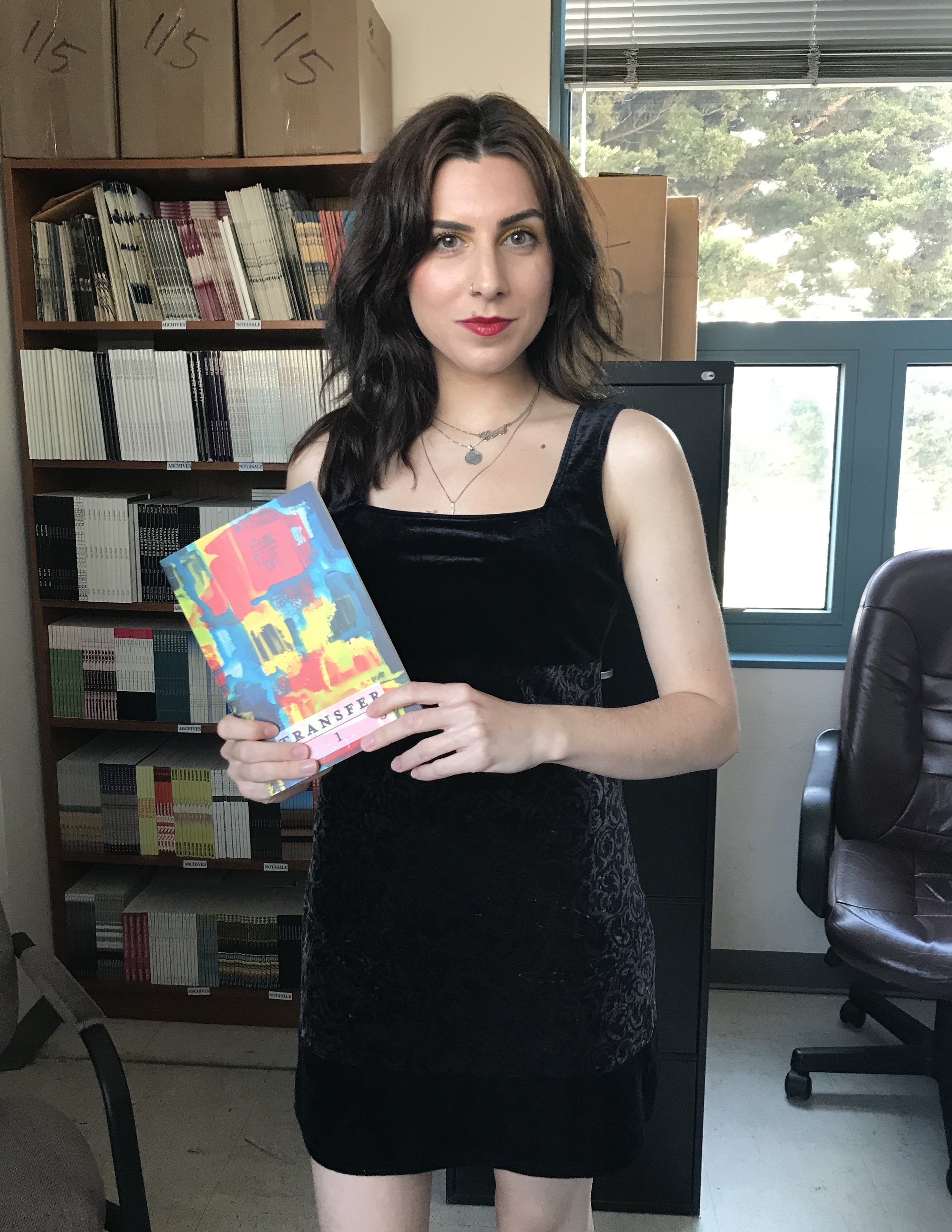 Me posing with  Transfer Issue 115 , the issue I designed.