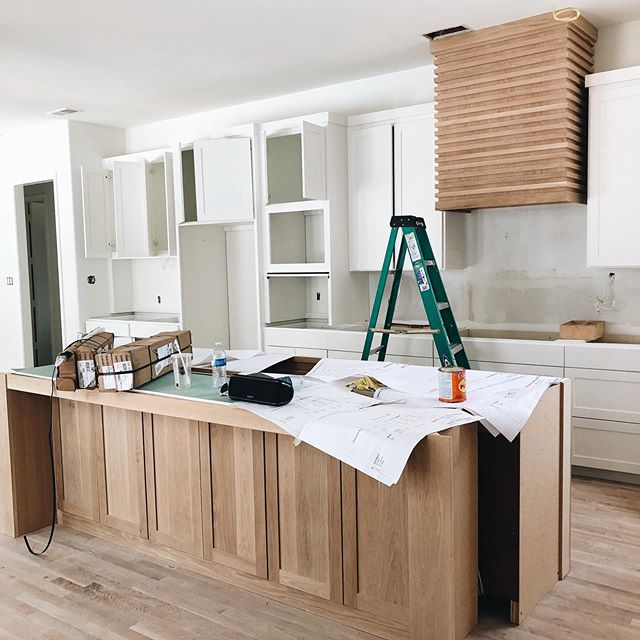 """I'm excited to share an update of our latest renovation with you. Other than the """"hers"""" closet, this is probably my next favorite space in the house. The vent hood really completes the look. Can't wait for lighting, countertops, hardware, and appliances!  #jackiejames #frisco #ltkithome #homerenovation #kitchenrenovation #homedesign #remodel #fixerupper  #property #ltkit #ltkithomedecor"""