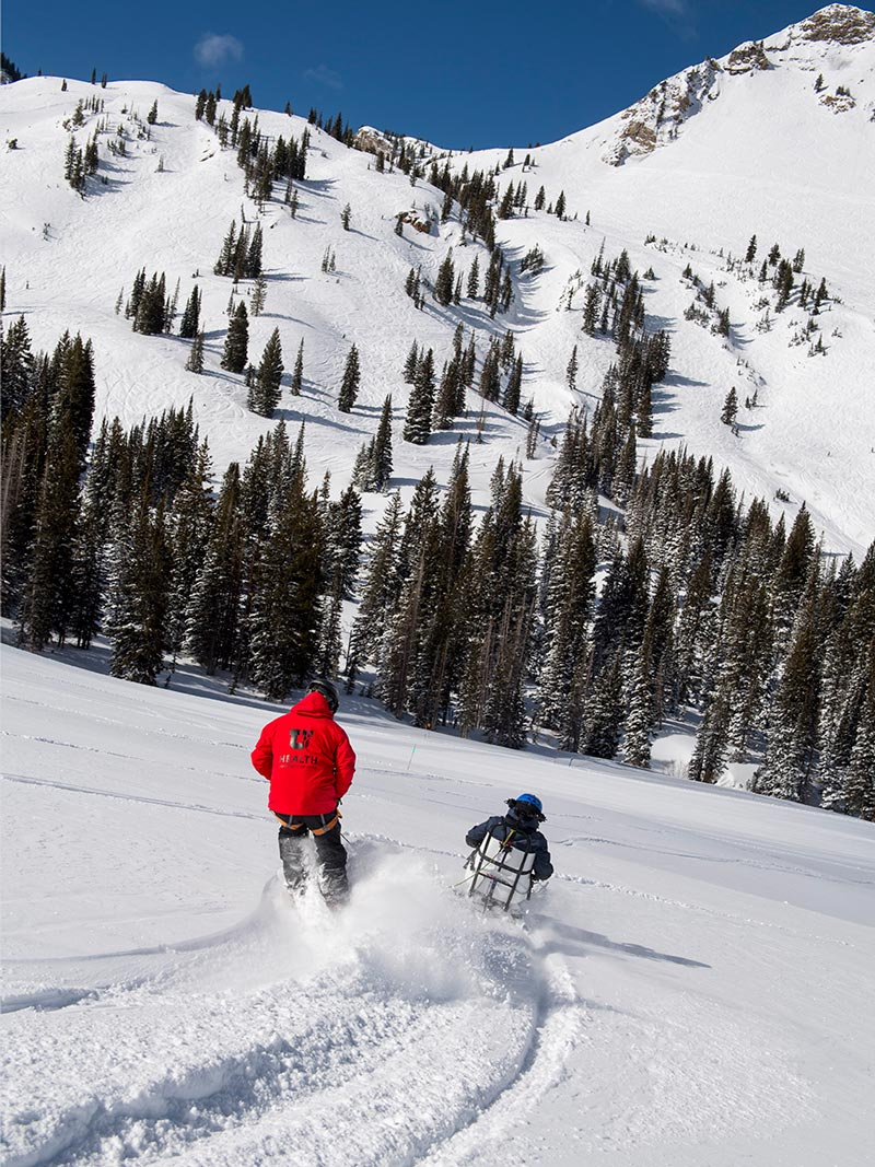 ANY TERRAIN<strong>TetraSki can handle many types of terrain, from powder to corduroy.</strong><br><i>enlarge +</i>