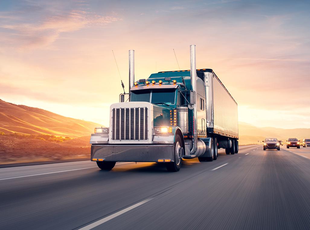 Transport truck hauling cargo.