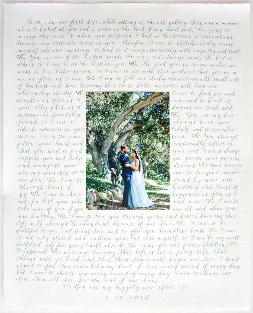 Sample wedding vows in Margo's Modern script