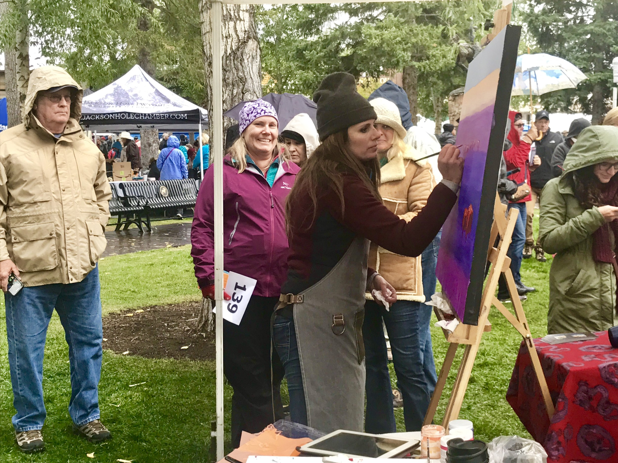 Carrie Wild paining during the Jackson Hole Fall Arts Festival Quickdraw