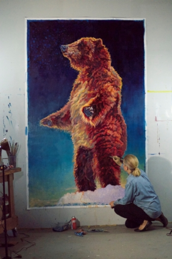 "Patricia painting ""Aurora"" 96x60 - now at Gallery Wild"