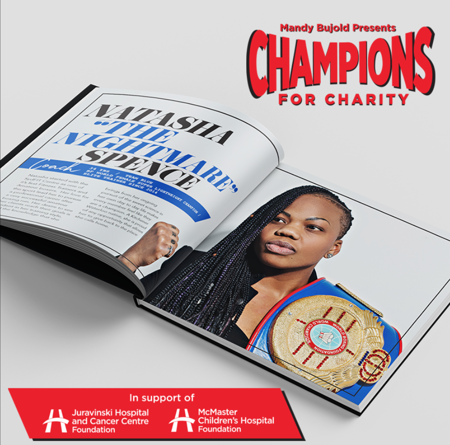 Champions for Charity -  Print design   In its inaugural year, Champions for Charity presented by Mandy Bujold raised over $160,000 for the McMaster Children's Foundation & Juravinski Cancer Centre. When we were asked to help with some graphic design needs at the event we jumped on the opportunity.