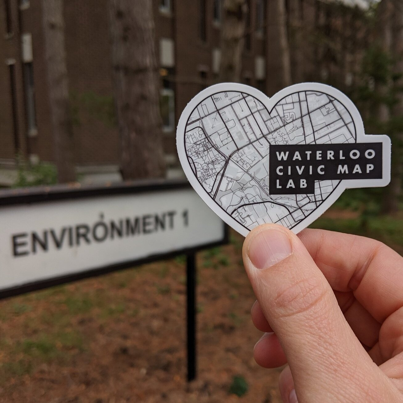 Logo:  Waterloo Civic Map Lab at UWaterloo focusing on developing maps and geospatial data with community impact.